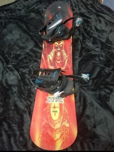 Спорт и хобби - Беш-Кюнгей: Продаю сноуборд для детей125см с креплениями и ботинками 34/35размер б