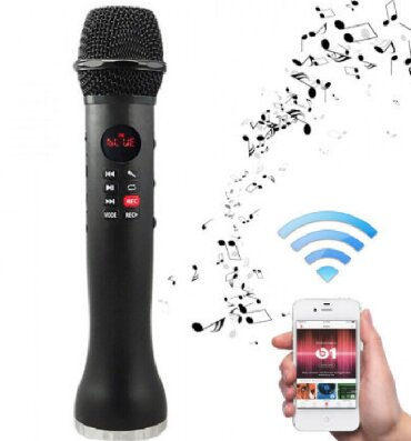 беспроводной-микрофон в Кыргызстан: Портативный караоке микрофон со встроенным динамиком iCHENLE L-598