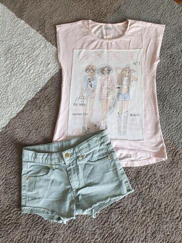 Ostala dečija odeća | Crvenka: H&M komplet za devojčice vel 10god. Šorts je nov a majica bez