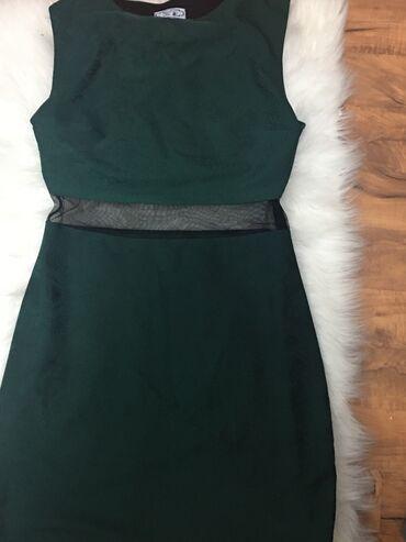 Tamno zelena haljina sa mrežicom ispod grudi40 veličina
