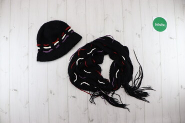Жіночий комплект шляпка з шарфом    Колір чорний Шляпка Висота 22 см Н