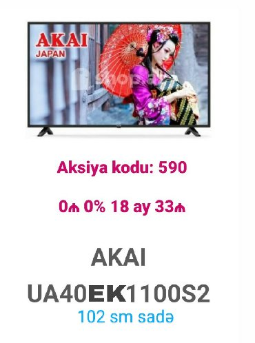 aka - Azərbaycan: Kreditle: 102 ekran Televizorlar mart ayinin 4ne kimi faizsiz ilkin