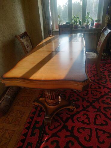 стол и стулья для гостиной в Кыргызстан: Акции акции Стол комплект, длина2,40 ширина 1м. 6шт стульчик цена