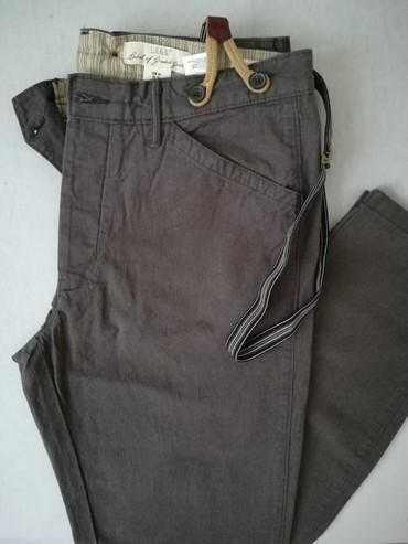 Pantalone-velicina-m - Srbija: Muske pantalone, sive, tapered fit, marka H& M, velicina 34