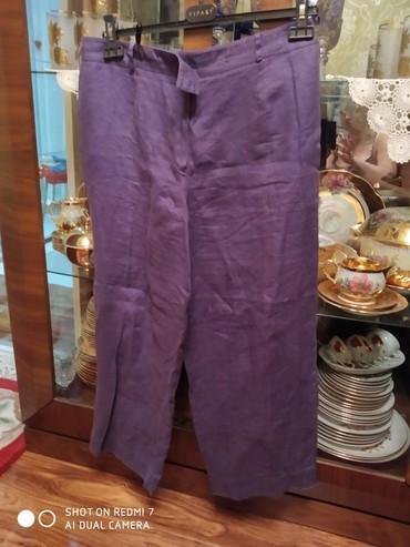 женские брюки с высокой посадкой в Азербайджан: Брюки женские 100% лён сиреневого цвета размер 40-42
