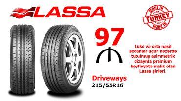 Lassa 215/55R16 DRIVEWAYS təkərləriQiyməti: 97 aznÖlkə: TürkiyəBrend