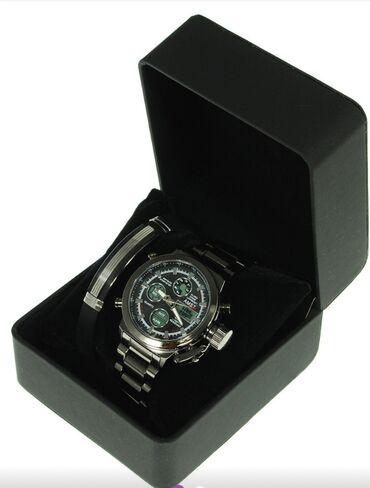 Армейские часы на браслете +стильный браслет из силикона в подарочном