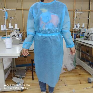 медицинские одноразовые халаты в Кыргызстан: Халаты медицинские одноразовые,Из Материала СПАНДБОНДА плотностью 30г