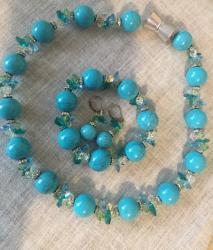 бусы и браслет в Кыргызстан: Набор ( серьги, бусы и браслет ). Материал: натуральный камень бирюзы