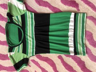 Majica zelena - Srbija: Zelena majica na pruge,velicina S,novo