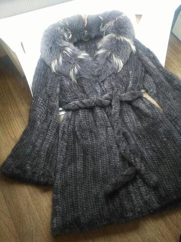вязанный жакет в Кыргызстан: Вязаная норковая шуба 90 см.Размер 48—50.Состояние идеальное,одета