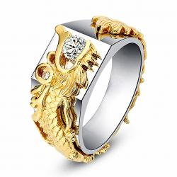 Unisex Stylish Vintage Dragon Pattern Ring Exaggeration Finger Ring - σε Athens