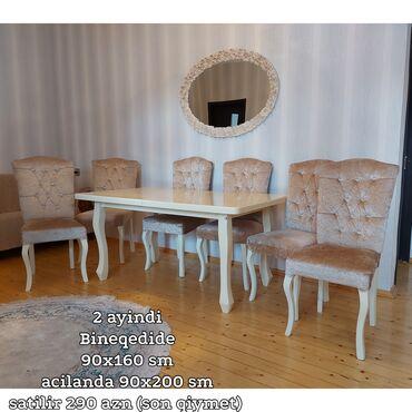 bineqedide obyekt satilir in Azərbaycan   KOMMERSIYA DAŞINMAZ ƏMLAKININ SATIŞI: Masa stol ve stul 2 ayindir, Bineqedide90x160 smacilanda 90x200