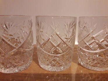 Хрустальные стаканчики, 6 штук.  Высота 6.5 см,  Диаметр 5 см