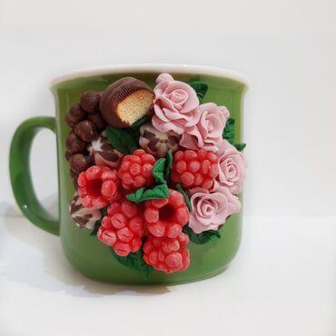 Подарок для себя и близких, кружка для питья из полимерной глины