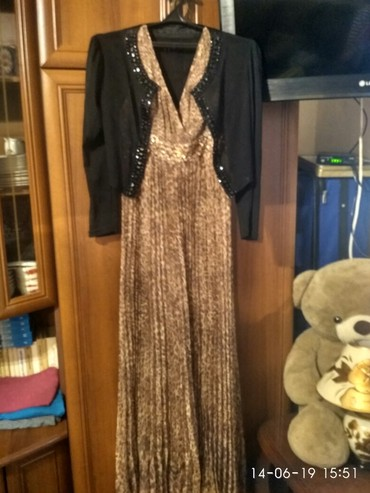 коричневое платье в пол в Кыргызстан: Красивое платье в пол с болеро состояние отличное размер 48-54 цена