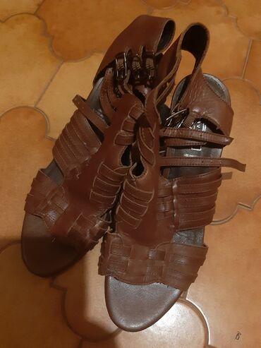 Braon kozne sandale broj pitajte - Srbija: Kozne braon sandale 38