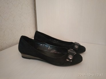 черные-женские-туфли в Кыргызстан: Балетки, кожа, юничел покупала в России