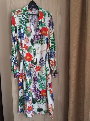 Zara платье-рубашка, размер L, 100% натуральный материал, длина ниже