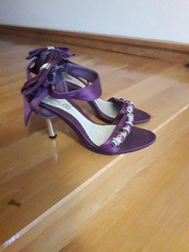 Odan-materijal-broj - Srbija: Ljubičaste sandale broj 37.  Visina štikle 10cm.  Pozadi sa mašnom. Ma