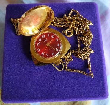Антикварные часы в Кыргызстан: Часики Заря СССР, с глубокой позолотой, клеймо Au, в идеальной