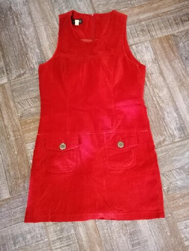 Crvena-haljina-marke - Srbija: Pisana crvena haljina, vel. S