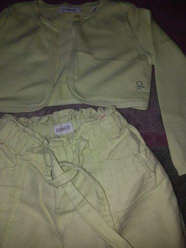 Pantalone sjajne - Srbija: Dzemper letnji tanji- bolero i lanene 3/4 pantalonice. Oko 4-5 godina