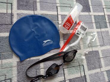 Sportske naocare - Srbija: Slazenger kapa i naocare za plivanje. Samo par puta upotrebljeno. Unis