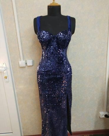 Роскошное вечернее платье с открытой спиной и с красивым разрезом в Бишкек