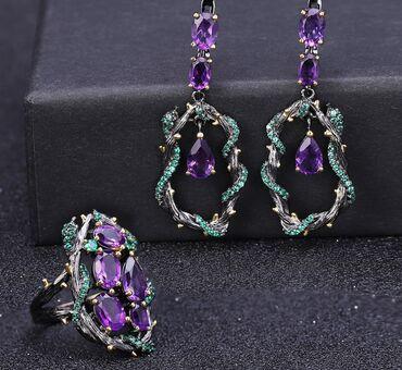 корабли ручной работы в Азербайджан: Натуральный Фиолетовый аметист драгоценный камень серьги и кольцо 925