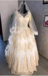 platja dlja 9 10 let в Кыргызстан: Продаю новое свадебное платье + фата, размер М, цена 10 000