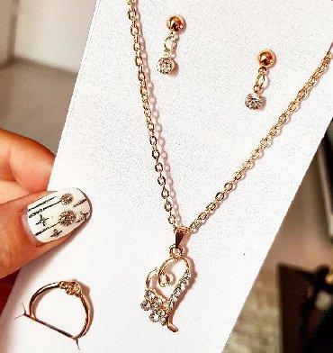 Jewellery Sets - Srbija: Set nakita Minđuše, prsten i ogrlica sa priveskom Novo Bižuterija