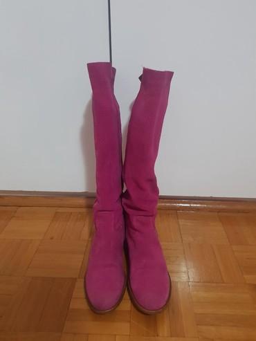 Pink cizme od prevrnute koze br.38, kupljne u office shoesu,(placene - Belgrade