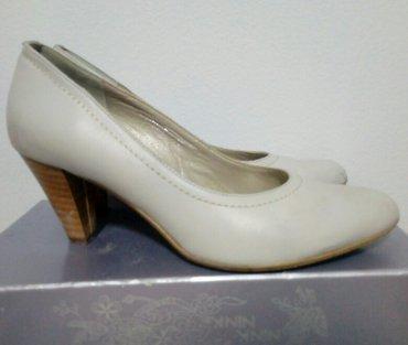 Kožne ženske cipele n štiklu,krem-sive boje,veličina 37. Obuven - Belgrade