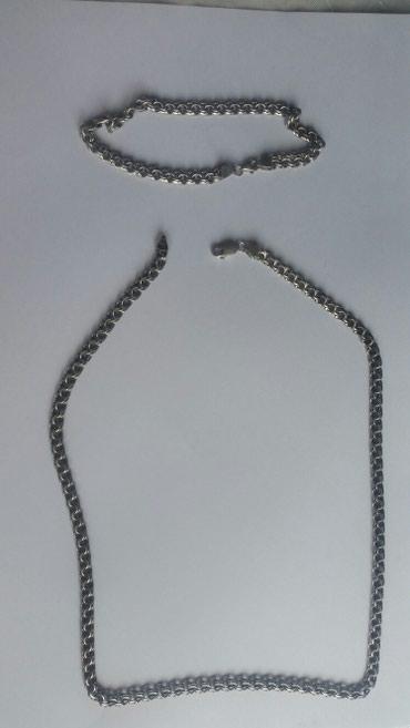 Xırdalan şəhərində Gümüş qolbaq və boyunbağ  925 əyar təmiz gümüş. çəkisi 30