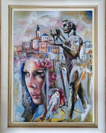 Haljina-ruze - Srbija: Akademski slikar Nebojša Petrović Petra, ulje na platnu zategnuto na