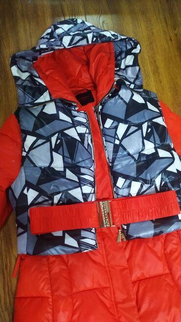 Зимняя шикарная куртка + жилетка + ремень Внутри биопух Размер 2xl или