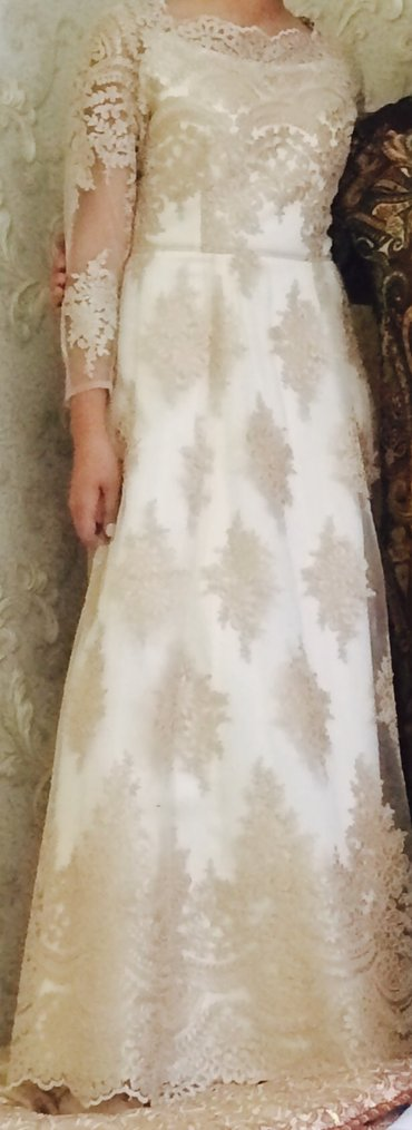 платье из кружева в пол в Кыргызстан: Продаю платье,одела один раз на полчаса. сшито на заказ для никах тоя