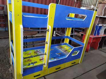Детская мебель - Состояние: Новый - Бишкек: Новый двух яростный кровать. Ламинат Россия. Доставка по городу