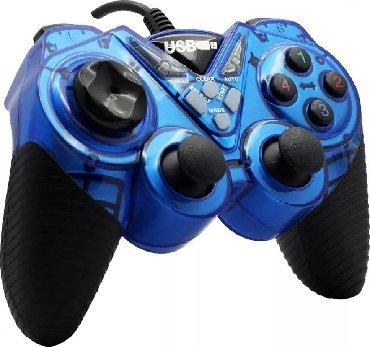 джойстики-геймпад в Кыргызстан: Джойстики новые проводные синий usb double shock controller