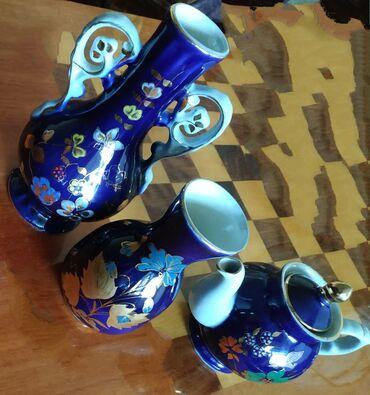 Антикварные вазы - Бишкек: НАБОР из 3-х предметов продается. Отличный подарок.Фарфор. Кобальт