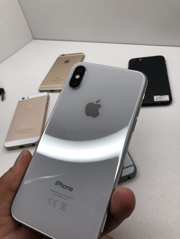 apple iphone a в Кыргызстан: Б/У iPhone X 64 ГБ Белый