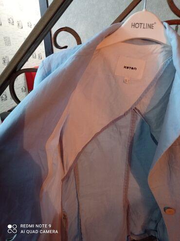 """Продаю лён пиджак голубого цвета от """"Кotton"""", размер 34, почти новое"""