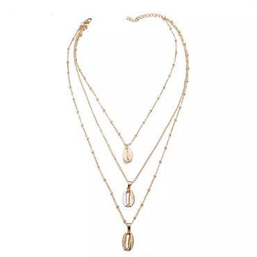 Женское ожерелье с подвеской в виде ракушки Boho, трехслойная