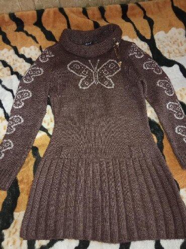 вязаное платье с открытой спиной в Кыргызстан: Вязаное,очень теплое платье с бабочками,коричневого цвета