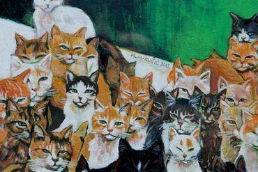 Bez torbica - Srbija: Ostrvo mačaka - uramljeno!!!Umetnička slika - figuracijanaziv -ostrvo