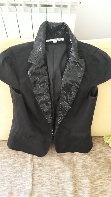 Sako crne boje - Srbija: Tally weijl br.38 sako sa crnim ušivenim perlicama.Kao nov .Intenzivno