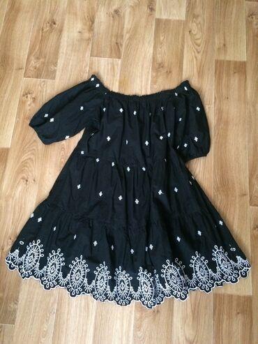 H&M платье-крестьянка 100% хлопок с вышивкой, размер Л, в идеально