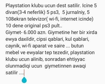 Bakı şəhərində Playstation desti satilir.. 5 dene 108 ekran televizor,5 dene ps3, 10