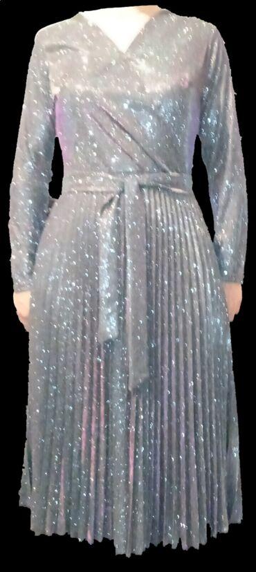 вечернее зеленое платье в Кыргызстан: Вечернее платье женскоеЦвет:серебристый с отражением розового и